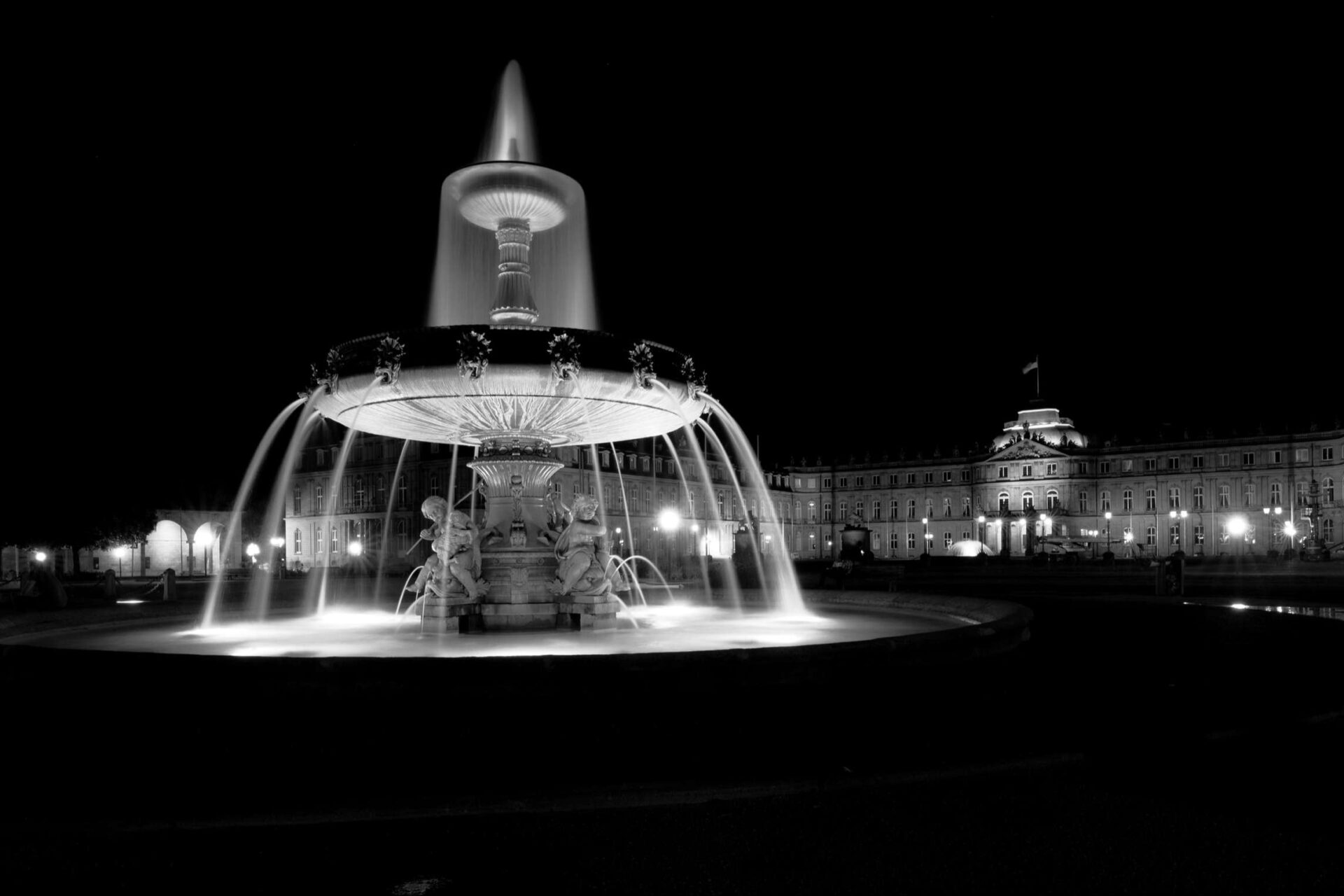 Stuttgart, Schlossplatz at Night